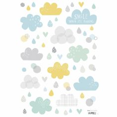 Stickers A3 nuages et pluie Smile, it's raining by Dawn Machell (29,7 x 42 cm)