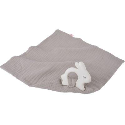 Jouet de dentition avec lange Lapin gris