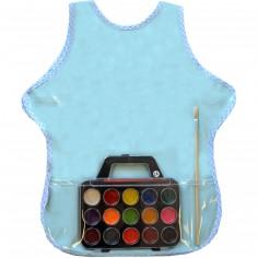 Set de peinture à l'eau avec tablier plastifié bleu