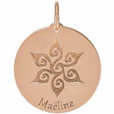 Médaille Maëline personnalisable 18 mm (or rose 750°)