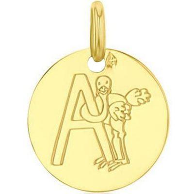 Médaille A comme autruche personnalisable (or jaune 750°)