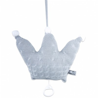 Coussin musical couronne Cable Uni gris (30 cm) Baby's Only