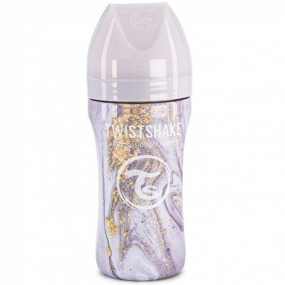 Biberon anti-colique en acier inoxydable gris marbré (330 ml)  par Twistshake