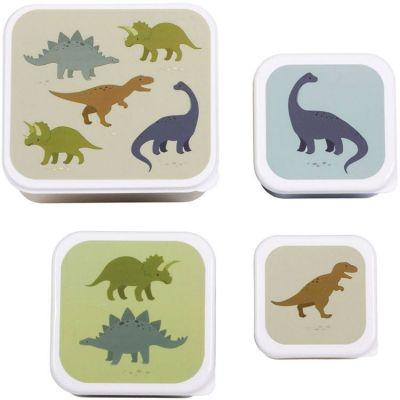 Lot de 4 boîtes à goûter Dinosaure  par A Little Lovely Company