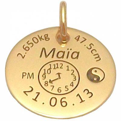 Médaille signe Yin et Yang (or jaune 750°)