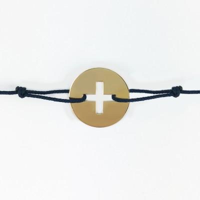 Bracelet cordon bébé médaille Signes Croix Latine 16 mm (or jaune 750°) Maison La Couronne