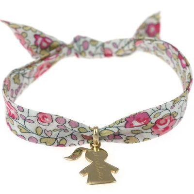 Bracelet maman Liberty avec petite fille personnalisable (plaqué or)  par Merci Maman