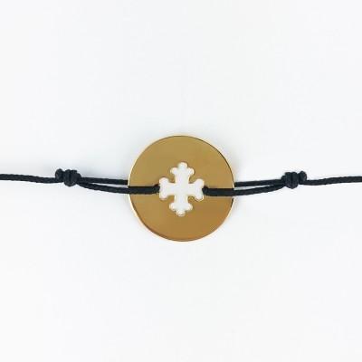 Bracelet cordon bébé médaille Signes Croix Occitane 16 mm (or jaune 750°) Maison La Couronne