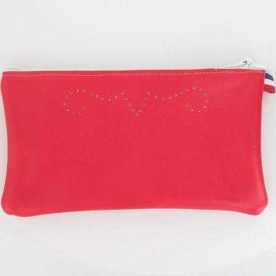Pochette en cuir rouge framboise  par Le Petit Fils du cordonnier