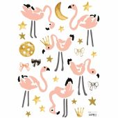 Stickers A3 flamants roses Flamingo by Lucie Bellion (29,7 x 42 cm) - Lilipinso