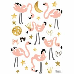Stickers A3 flamants roses Flamingo by Lucie Bellion (29,7 x 42 cm)