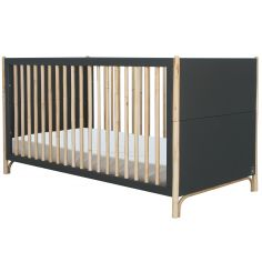 Pack duo lit bébé évolutif et côtés de lit Océane gris ardoise (70 x 140 cm)