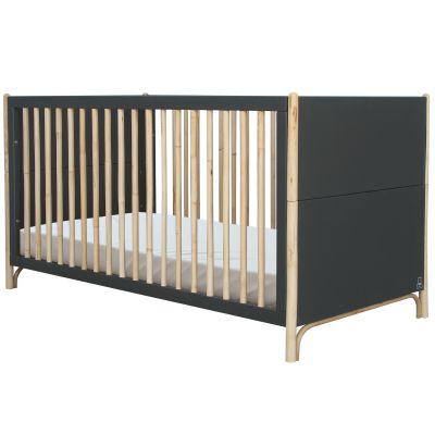 Pack duo lit bébé évolutif et côtés de lit Océane gris ardoise (70 x 140 cm) Théo