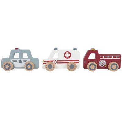 Lot de 3 véhicules de secours en bois  par Little Dutch