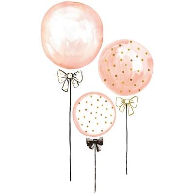 Sticker ballons rose à pois dorés Flamingo by Lucie Bellion  par Lilipinso