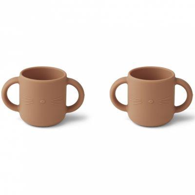 Lot de 2 tasses à anses en silicone Gene Chat tuscany rose  par Liewood
