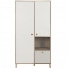 Armoire 2 portes avec 1 tiroir gris amovible Lora