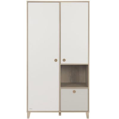 Armoire 2 portes avec 1 tiroir gris amovible Lora  par Galipette