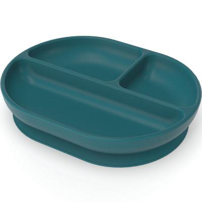 Assiette à compartiments à ventouse en silicone blue abyss  par EKOBO