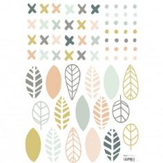 Planche A3 de stickers croix points et feuilles