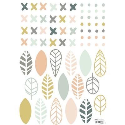 Planche A3 de stickers croix points et feuilles  par Lilipinso