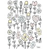 Planche de stickers A3 de fleurs et bonbons - Lilipinso