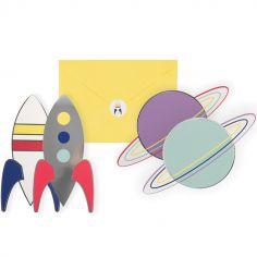 Lot de 8 cartes d'invitation Cosmic