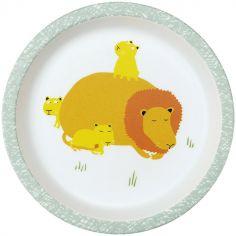 Assiette bébé plate en mélamine La savane