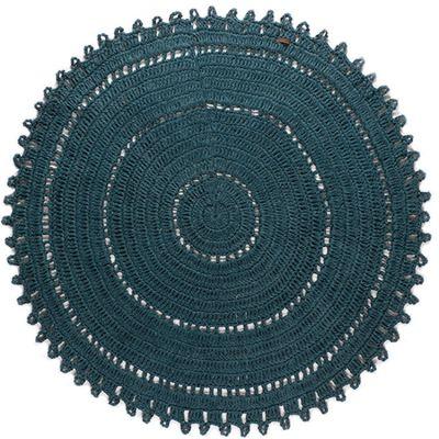 tapis rond gypsy jute bleu canard fonc 120 cm par varanassi. Black Bedroom Furniture Sets. Home Design Ideas