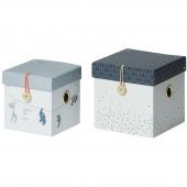 Lot de 2 boîtes de rangement carrées bleues - Done by Deer