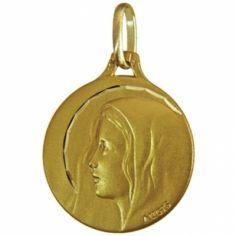 Médaille ronde Vierge auréolée de profil 16 mm facettée (or jaune 750°)