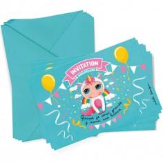 Lot de 6 cartes d'invitation Licorne