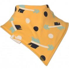 Bavoir bandana Flèches et pois jaune