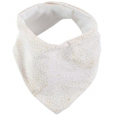 Bavoir bandana Lucky coton bio Gold bubble White