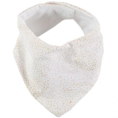 Bavoir bandana Lucky coton bio Gold bubble White  par Nobodinoz