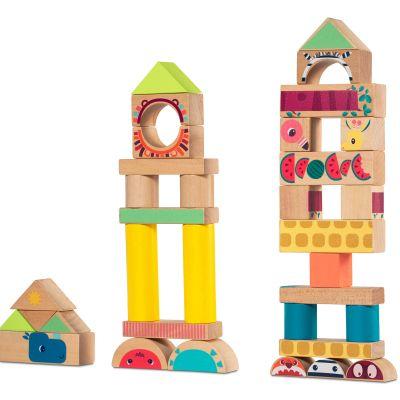 Blocs de construction en bois Jungle (37 pièces)  par Lilliputiens