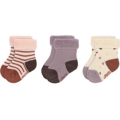 Lot de 3 paires de chaussettes bébé en coton bio Tiny Farmer lilas (pointure 15-18)  par Lässig