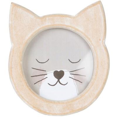 Cadre photo en bois chat
