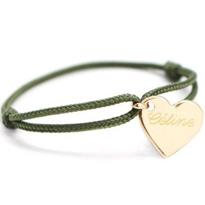 Bracelet cordon maman Kids coeur (plaqué or jaune)  par Petits trésors