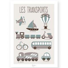 Affiche éducative A4 Les Transports bleu