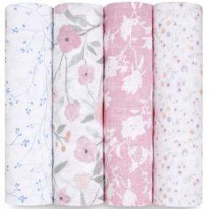 Lot de 4 maxi langes en coton Ma Fleur (120 x 120 cm)
