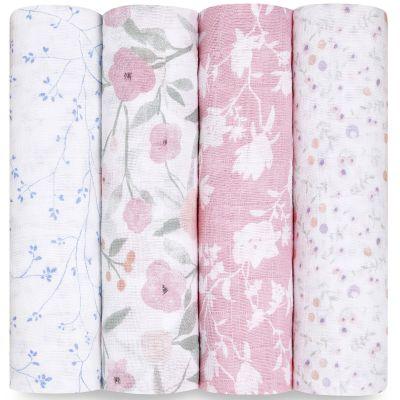 Lot de 4 maxi langes en coton Ma Fleur (120 x 120 cm)  par aden + anais
