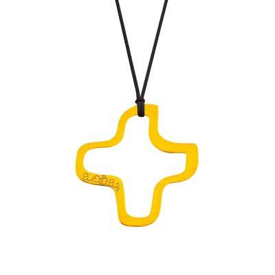 Collier cordon bijou croix évidée (or jaune 18 carats)  par Maison La Couronne