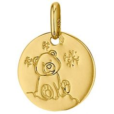 Médaille ronde Ourson 14 mm (or jaune 750°)