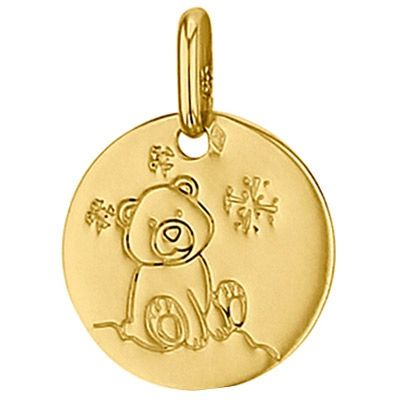 Médaille ronde Ourson 14 mm (or jaune 750°)  par Premiers Bijoux
