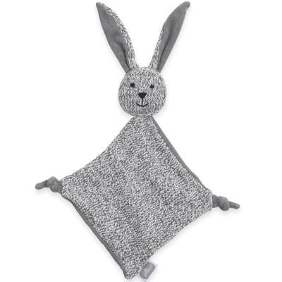 Doudou plat lapin Stonewashed knit gris (28 cm) Jollein