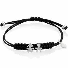 Bracelet cordon noir Briciole fille + garçon (or blanc 750° et pavé de diamants)