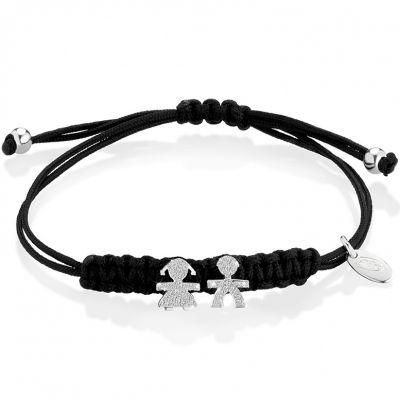 Bracelet cordon noir Briciole fille + garçon (or blanc 750° et pavé de diamants)  par leBebé