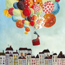 Tableau Ballons in volo by Manuela Magni (30 x 30 cm)  par Lilipinso