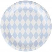 Assiettes en carton losanges bleu clair (8 pièces) - My Little Day